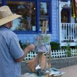 Plein air artist on the main street.