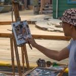 Plein air artist at Village Lane.
